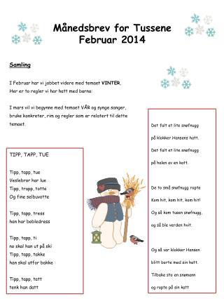 Månedsbrev for Tussene Februar 2014