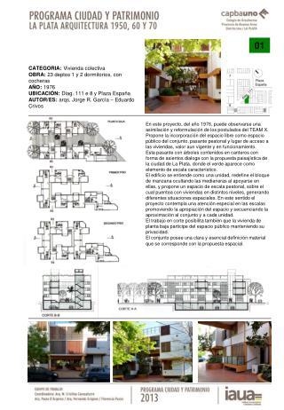 CATEGORIA:  Vivienda colectiva OBRA:  23 deptos 1 y 2 dormitorios, con cocheras AÑO:  1976