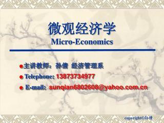 微观经济学 Micro-Economics
