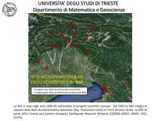 UNIVERSITA' DEGLI STUDI DI TRIESTE  Dipartimento di Matematica e Geoscienze