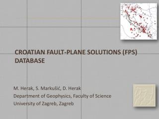 Croatian FAULT-plane solutions (fps) database