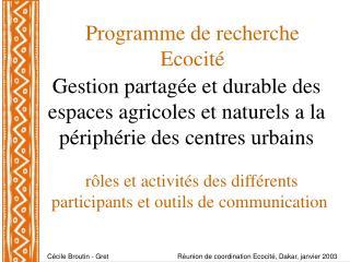 Programme de recherche Ecocité