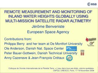 J érôme  Benveniste European Space Agency