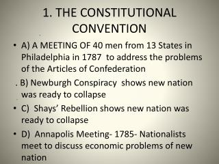 1. THE CONSTITUTIONAL CONVENTION