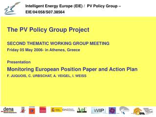The PV Policy Group Project SECOND THEMATIC WORKING GROUP MEETING