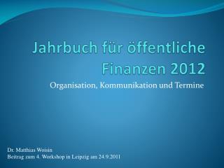 Jahrbuch für öffentliche Finanzen 2012