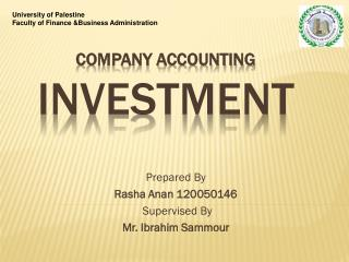 Company Accounting Investment
