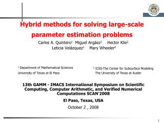 Hybrid methods for solving large-scale parameter estimation problems