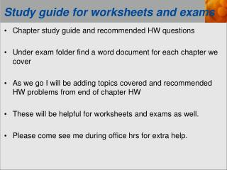Study guide for worksheets and exams