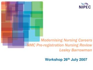 Modernising Nursing Careers NMC Pre-registration Nursing Review Lesley Barrowman