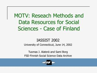MOTV: Reseach Methods and Data Resources for Social Sciences - Case of Finland