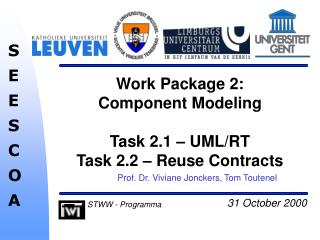 Work Package 2:  Component Modeling  Task 2.1 – UML/RT Task 2.2 – Reuse Contracts