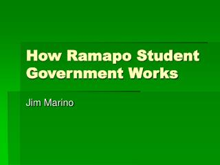 How Ramapo Student Government Works