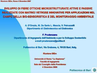 A. D'Orazio, M. De Sario L. Mescia, V. Petruzzelli Dipartimento di Elettrotecnica ed Elettronica