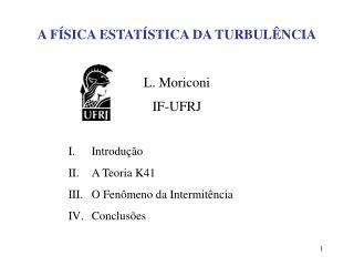 A FÍSICA ESTATÍSTICA DA TURBULÊNCIA L. Moriconi  IF-UFRJ