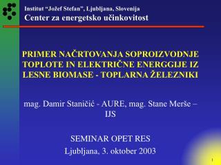 mag. Damir Staničić - AURE, mag. Stane Merše – IJS SEMINAR OPET RES Ljubljana, 3. oktober 2003