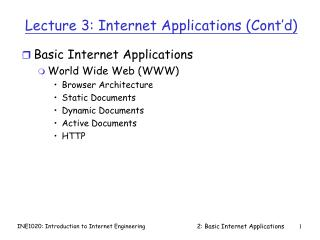 Lecture 3: Internet Applications (Cont�d)
