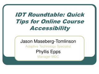 IDT Roundtable: Quick Tips for Online Course Accessibility