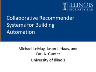 Collaborative Recommender Systems for Building Automation