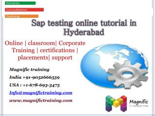 Sap testing online tutorial in Hyderabad