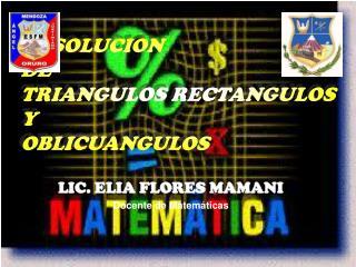 LIC. ELIA FLORES MAMANI Docente de Matemáticas