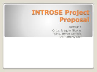 INTROSE Project Proposal