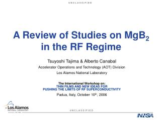 A Review of Studies on MgB 2  in the RF Regime