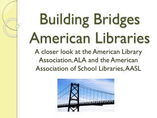 Building Bridges American Libraries