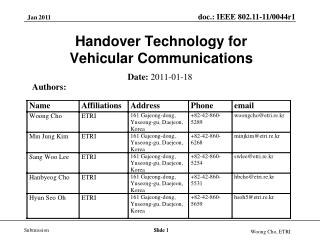 Handover Technology for  Vehicular Communications