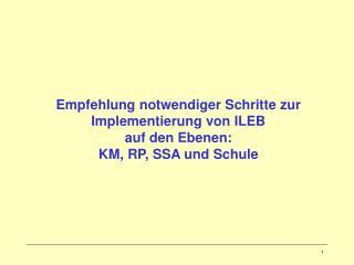 Empfehlung notwendiger Schritte zur Implementierung von ILEB  auf den Ebenen: