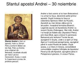 Sfantul apostol Andrei – 30 noiembrie