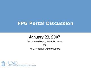 FPG Portal Discussion