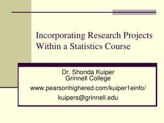 Incorporating Research Projects Within a Statistics Course