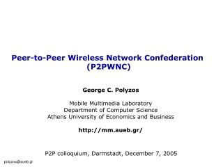 Peer-to-Peer Wireless Network Confederation  (P2PWNC)