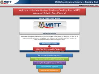 USCG Mobilization Readiness Tracking Tool