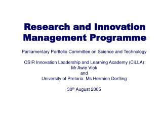 Research and Innovation Management Programme