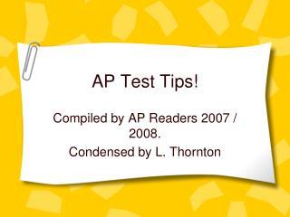 AP Test Tips!