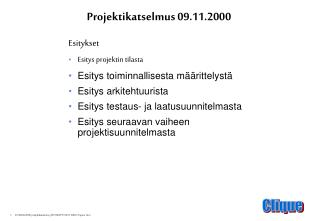 Projektikatselmus 09.11.2000