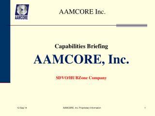 Capabilities Briefing AAMCORE, Inc. SDVO/HUBZone Company