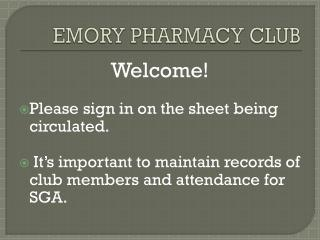 EMORY PHARMACY CLUB