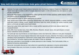 Araç üstü ekipman sektörünün önde gelen şirketi Katmerciler