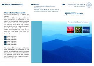 Bachelor Beispiel Agrarwissenschaften