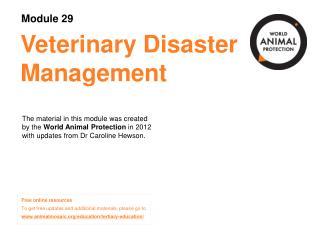 Veterinary Disaster Management