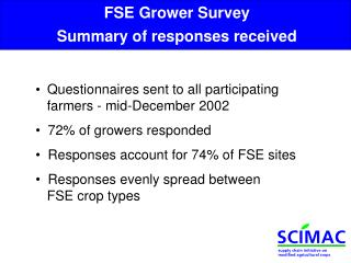 FSE Grower Survey Summary of responses received