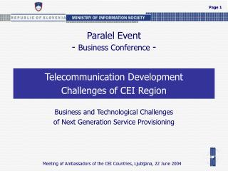 Paralel  Event -  Business Conference  -