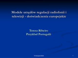 Modele urzędów regulacji radiofonii i telewizji - doświadczenia europejskie