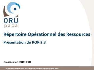 Répertoire Opérationnel des  Ressources Présentation du ROR 2.3