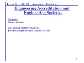 Lecture #4      EGR 120 – Introduction to Engineering