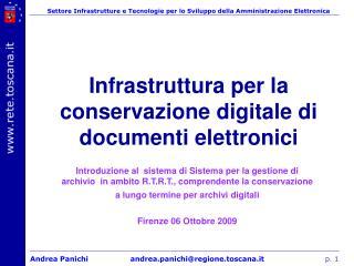 Infrastruttura per la conservazione digitale di documenti elettronici