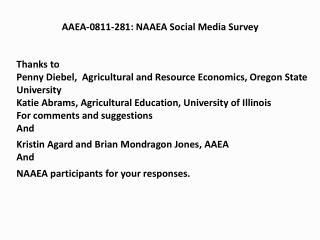 AAEA-0811-281: NAAEA Social Media Survey